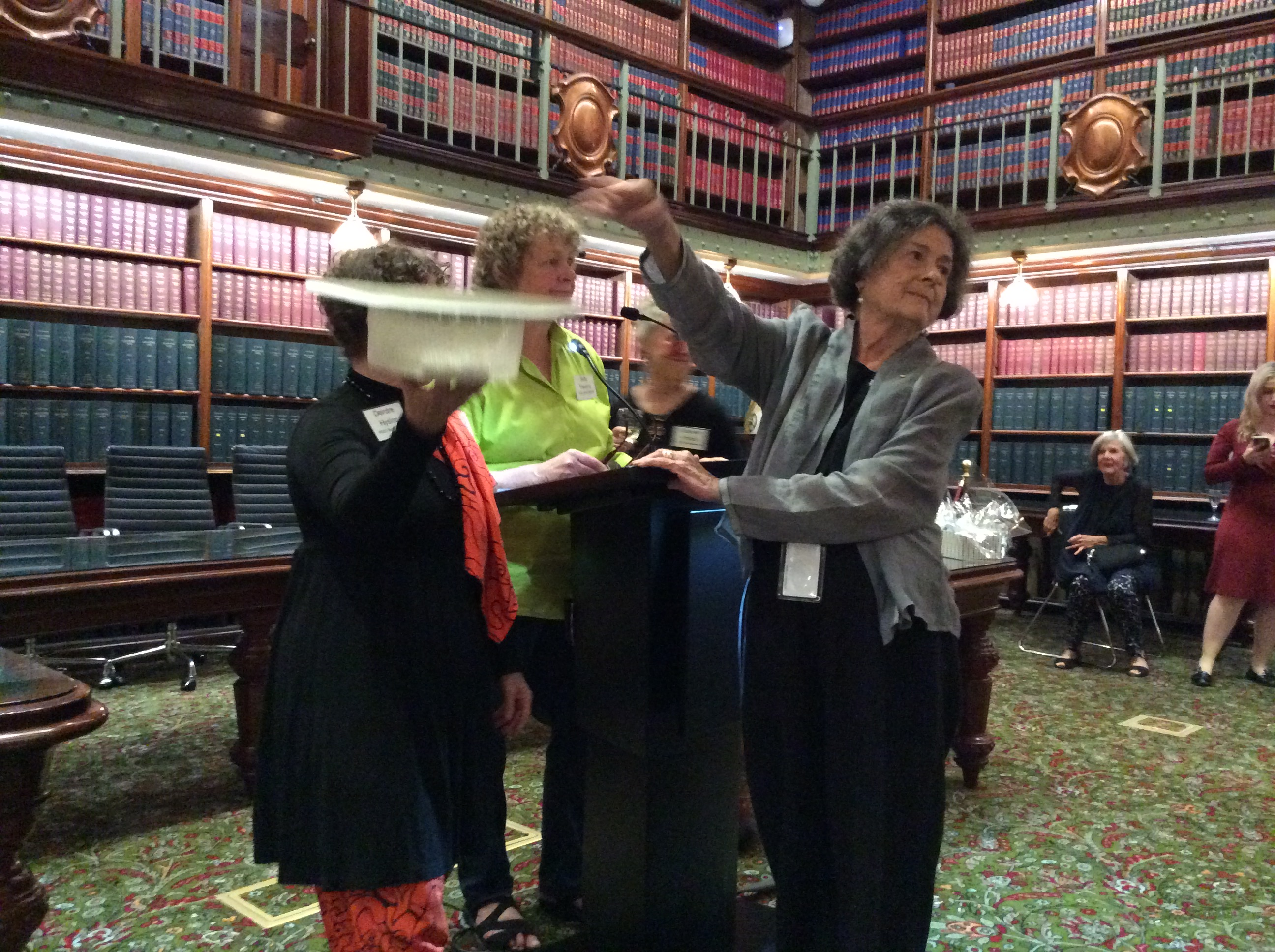 Ann drawing the raffle? - POSC launch NSW Parliament April 2018